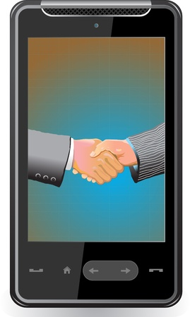 Realistic mobile phone with handshake on screen Vector