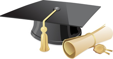 black cap: Graduation cap and diploma  Vector
