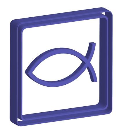 Christian religion symbol fish 3d icon