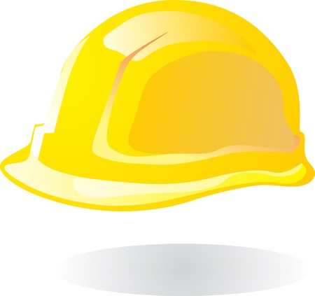 yellow hard hat: vector illustration of hardhat against white background  Illustration