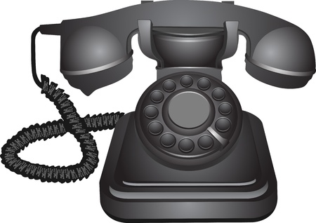 conventional: an old telephon with rotary dial Illustration
