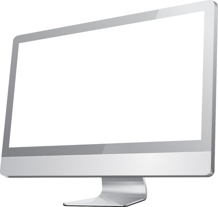 television screen: Computer Monitor with blank white screen  Isolated on white background   Illustration