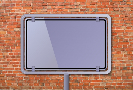 Blank billboard on a brick wall                     photo