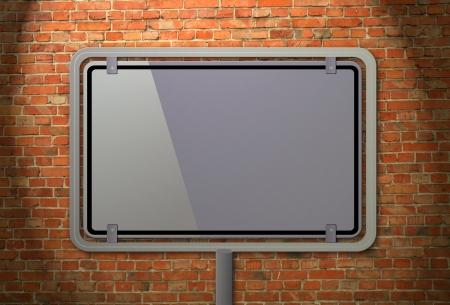 Blank billboard on a brick wall                                 photo