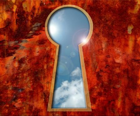 ciel vu à travers un trou de serrure