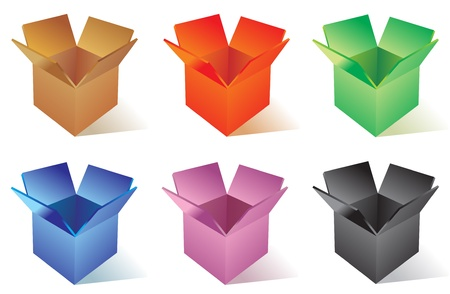 Illustraion of open color cardboard boxes   Stock Vector - 13706956