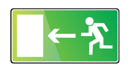 directional arrow: EMERGENCY EXIT SIGN