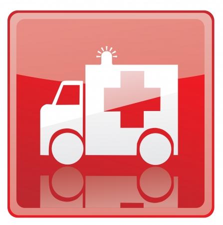 equipe medica: Ambulanza icona segno Vettoriali