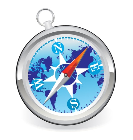 Compass icon with world map Vector