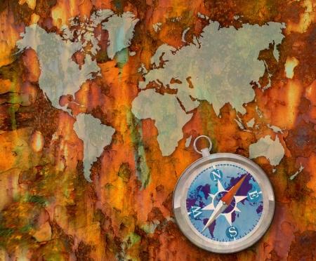 inforgaphic: vintage world map with Compass