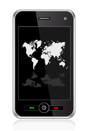 mobile website: mobile phone with world map
