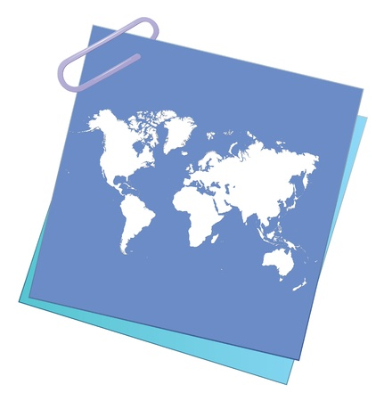 paper pin: note paper with world map Illustration