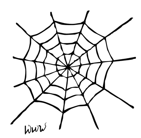 goth: Creepy spider web over white background   Illustration