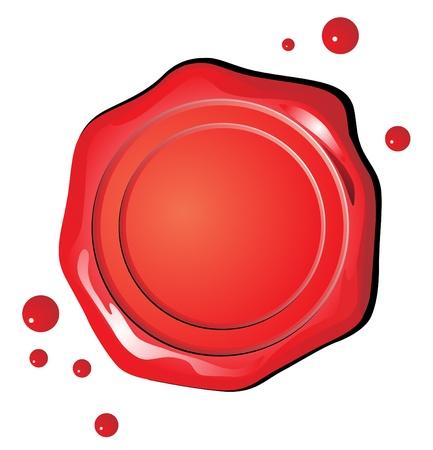 Cachet de cire rouge sur un fond blanc