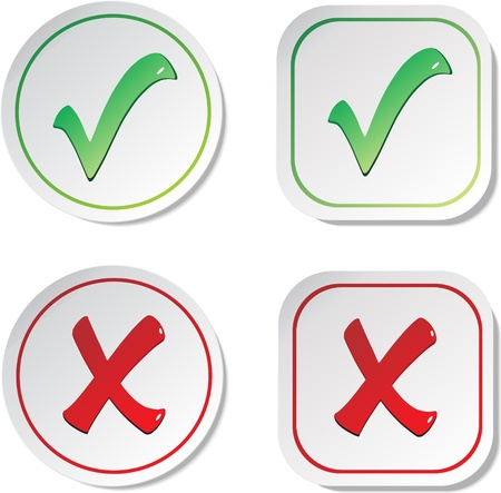Vector stickers - check marks Vettoriali