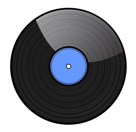 vinyl disk player: vinyl record with blue label isolated  Illustration