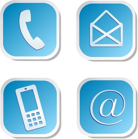 hotline: contact met ons op sticker Stock Illustratie