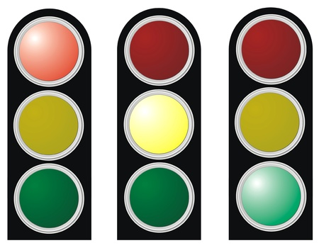 traffic lights with red, yellow and green lights on white background Stock Photo - 13781672