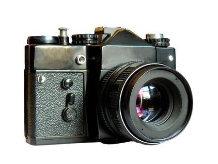 Old camera isolated on the white background   photo