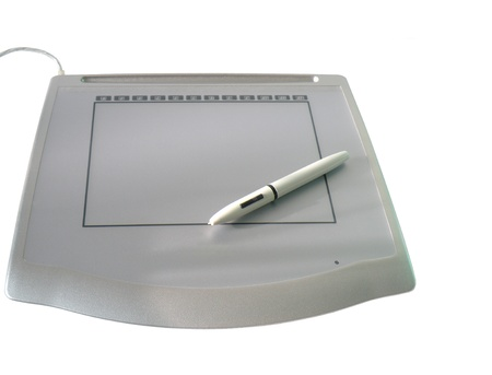 digitizer: Graphic tablet with pen on white background
