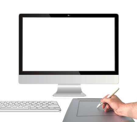 Graphic tablet with computer monitor Stock Photo - 13883178