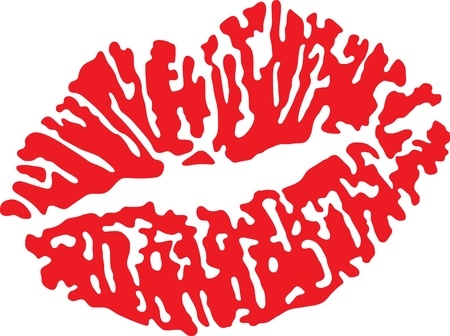 beautiful red lips isolated on white   イラスト・ベクター素材