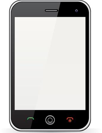 Réaliste téléphone mobile avec écran blanc isolé sur fond blanc