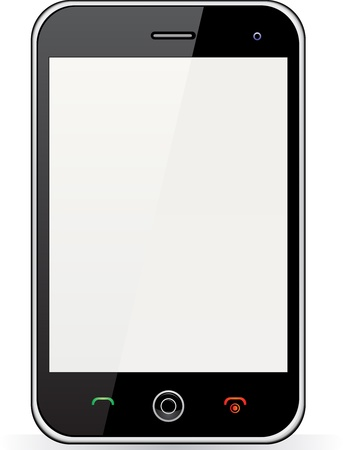 mobile device: Realistic mobile phone with blank screen isolated on white background Illustration