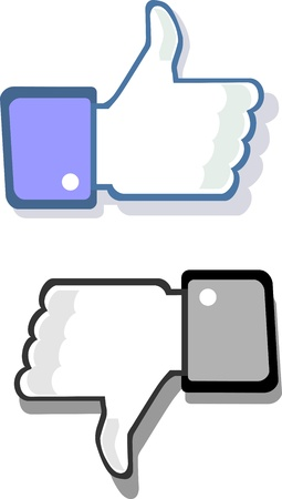 face book: Facebook dedo pulgar hacia arriba y hacia abajo gesto semejante y desemejante
