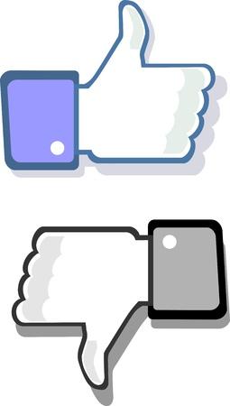 Facebook pouce vers le haut et vers le bas comme geste et à la différence