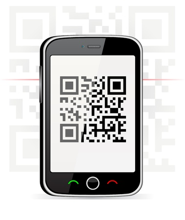 Phone scanned QR code  Vector