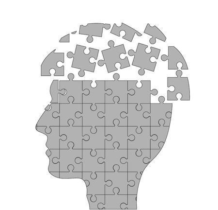 symbolic illustration with brain and puzzle  Vector