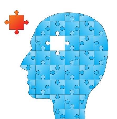 Les gens la tête avec des éléments de puzzles pour la psychologie ou de la conception concept médical Illustration
