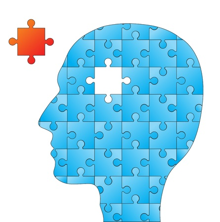 People head with puzzles elements for psychology or medical concept design Vettoriali