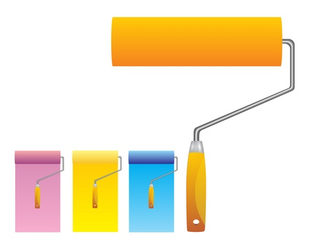 rollers: Colorful glossy cmyk, cyan, magenta, yellow bright paint rollers with color strokes  Illustration