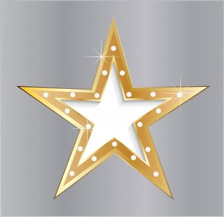 star on metal plate with diamond screws  Vector