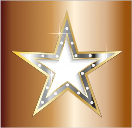 metaal: ster op metalen plaat met diamant schroeven Stock Illustratie