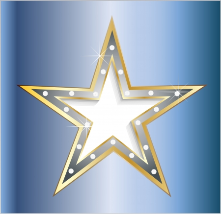 show bussiness: star on metal plate with diamond screws