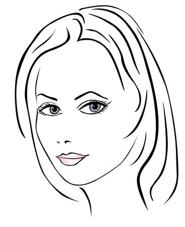 single line: Beautiful woman face Illustration
