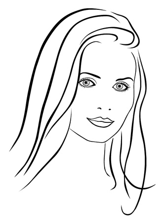 outline drawing: Beautiful woman face