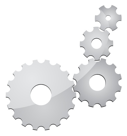 cogs and gears: silver cogs gears on white background EPS10