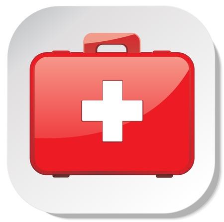 first aid box: primera etiqueta icono botiqu�n