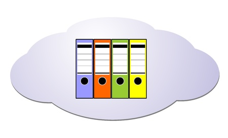 Data from cloud computing into file folders Vector
