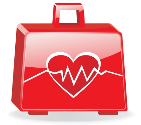 first aid kit: First aid kit with cardiogram isolated EPS10