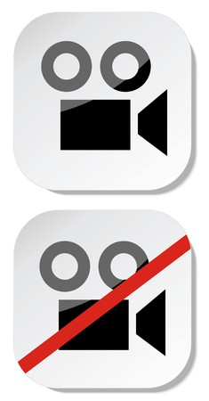 No camera sticker sign eps 10 Stock Illustratie