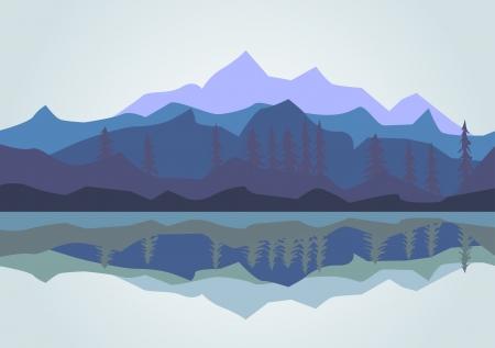 Genre sur les montagnes et le lac
