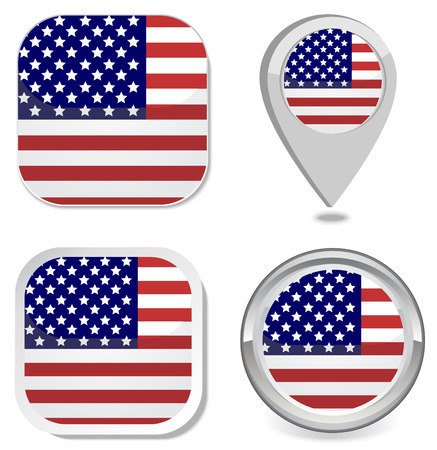USA Flag icon button sticker map point marker Stock Vector - 22550216