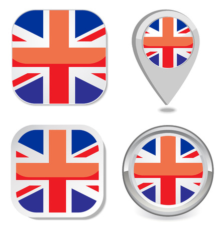 flag icon button sticker map point marker of great britain   Vector