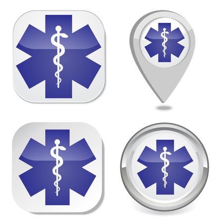 ems: S�mbolo m�dico del icono de la etiqueta engomada del bot�n del mapa marcador de punto de Emergencia