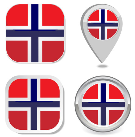 Grunge Norway flag icon sticker button map point marker vector eps 10 Vector